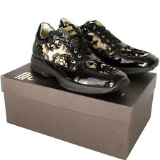 ROBERTO CAVALLI womens fashion gold brocade black leather sneakers Made in Italy