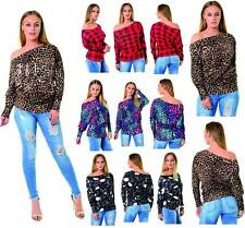 WOMENS LONG SLEEVE OFF SHOULDER BARDOT LEOPARD SKULL TARTAN PRINT BATWING TOP
