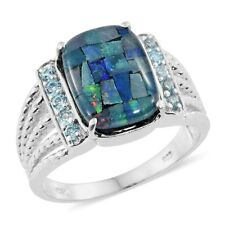 Australian Mosaic Opal, Electric Blue Topaz Platinum Over Sterling Silver Men's
