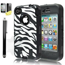 Shockproof Hard Zebra Cover Rugged Protective Case For Apple iPhone 4S 4 Black