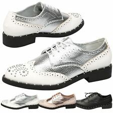 Doris Womens Flats Low Heel Lace Up Brogues Ladies Studded Oxford Shoes Size New
