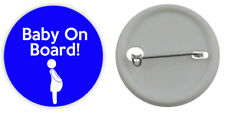 BABY ON BOARD BADGE Pregnant Mum To Be Boy Blue Button 3 Sizes Pinback Badge Pin