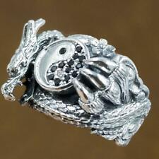 black onyx ying yang dragon 925 sterling silver ag authentic genuine mens ring