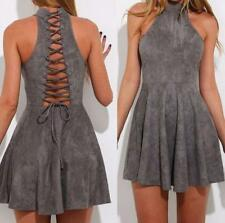 Women Back Hollow Out Lace Up Halter Tunic Empire Waist Sleeveless Mini Dress