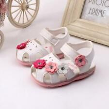 Toddler New Flowers Girls Leather Sandals Lighted Soft-Soled Princess Baby Shoes