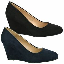 Olivia Womens Low Mid Wedges Heels Slip On Ladies Classic Court Shoes Pumps Size