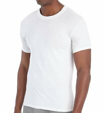 excell 3 Pack Mens Plain White Crew Neck and V-Neck T-Shirts Tagless Soft Cotton