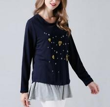 Women Twinset Rivet Spliced Round Neck Long Sleeve Tops+Solid Tank Mini Dress