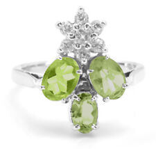925 Sterling Silver Ring with Oval Peridot Natural Gemstones Size 5,6,7,8,9,10