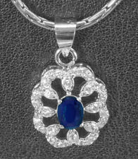 925 Sterling Silver Silver Pendant with Blue Sapphire Natural Gemstone Handmade