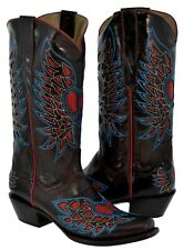 Womens Heart Wings Inlay Chocolate Brown Distressed Leather Cowboy Boots Western
