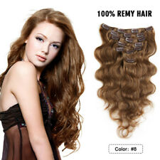 """FEBAY 70g Clip In Remy 100% Body Wave Human Hair Extensions 7pcs/Set 14"""" #8"""