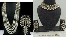 Indian Bollywood Celebrity Designer CZ Pearl Bridal Necklace Combo Jewelry Set