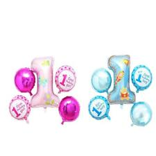 1st Birthday Party 5pcs Set Foil Helium Balloons Number Party Decoration