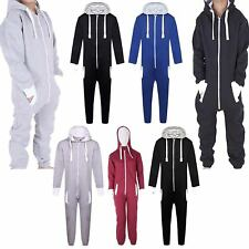 Kids Boys Girls Plain Hooded Jumpsuit All In One Hoody Playsuit Dungaree UK 7-13