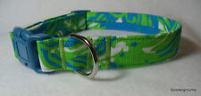 Lilly Pulitzer Limeade Roar of the Jungle  Handcrafted Dog Collar -S/M/L- New