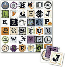 """12"""" Halloween Scrapbook Paper 5pc Letter Number Witch  Pirate Web Zombie Vampire"""