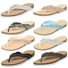 Womens Flip Flop Slippers High Sparkle Pool Beach Comfy Ladies Toe Post Sandals