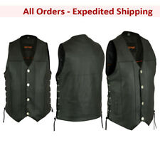 MC Biker Leather Concealment Vest, Side-Lace, Buffalo Nickel Snaps, (Small-8XL)