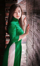 Light Green Viet Nam Ao Dai Tailor Made White Pant