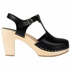 Hasbeens T-Strap Sky High Black Nature Womens Leather Ankle Strap Clogs Sandals