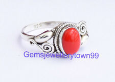 Red Coral Ring 925 Solid Sterling Silver Girl Women Stone Ring All Size R22CO