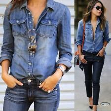 Fashion Womens Casual Blue Jean Denim Long Sleeve Shirt Tops Blouse Jacket