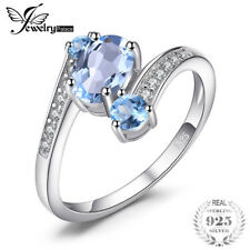 Jewelrypalace ring for women 100% Sterling Silver 925 Natural Blue Topaz 3 Stone