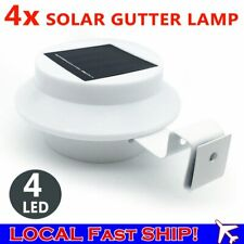 4X Solar Powered Gutter Fence LED Lights Outdoor Garden Wall Pathway Lamp White