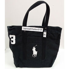 POLO RALPH LAUREN MENS BIG PONY CANVAS TOTE BAG POLO BLACK