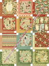 5pc Graphic 45 The Twelve Days of Christmas Collection Scrapbook Paper 12x12 NEW