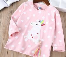 Quality Girls Long Sleeved Top T Shirt Pink Spotty With Horse Design BNWT