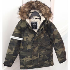 HOLLISTER MENS ALL WEATHER SHERPA LINED PARKA JACKET COAT CAMO SIZE MEDIUM