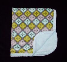 """Blankets & and Beyond Grey Aqua Green Sherpa Security Lovey 30 x 31"""""""