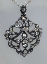 Antique Edwardian Diamond Filigree Pendant Necklace Solid 18k Gold & Silver