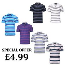 New Mens Polo Shirt Short Sleeve Striped T Shirt Casual Work T-Shirt Size M-2XL