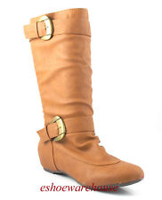 Cognac Tan Leatherette Cutie Ruched Slightly Slouch Comfy Flat Knee Boots