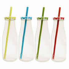 MILK BOTTLE GLASS PARTY BOTTLES WITH STRAW AND GINGHAM LID Mason Jars
