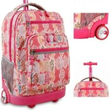 Wheeled Backpack Pink Laptop Rolling School Bookbag Travel Luggage Carry On Bag
