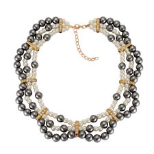 Glass Pearl, White Austrian Crystal Necklace (20 in) in Goldtone or Silvertone