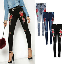 Women's Flower Embroidery Slim Stretch Trousers Denim Jeans Distressed Pants