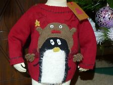 Baby Girls NEXT Red Knitted Faux Fur Christmas Jumper 3-6-9-12 18-24 m 3-4-5 yr