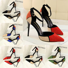 Women Strappy Sandals Block Point Toe High Heel Suede Pumps Ladies Party Shoes