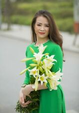 Dark Green Ao Dai Pearl Neck Decoration Viet Nam