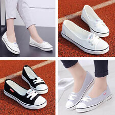 Women Fashion Canvas Flats Loafers Casual Breathable Flats Slip Comfy Shoes   k