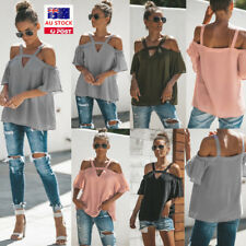 Women Strappy Cold Shoulder Ruffled Short Sleeve T Shirt Casual Loose Top Blouse