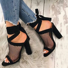 Women Sexy Hollow Block High Heel Ankle Strappy Shoes Bandage Peep Toe Sandals