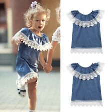Children Infant Kid Girls Lace Ruffles Solid Denim Princess Party Dress Clothes