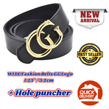 Men Womens GGenuine Leather WIDE Belts Fashion GG Logo Pattern For Jeans 1.25 HQ