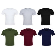 Mens Slim Fit T-shirts Short Sleeve T-Shirt V-Neck Solid Casual Soft Cotton Tops